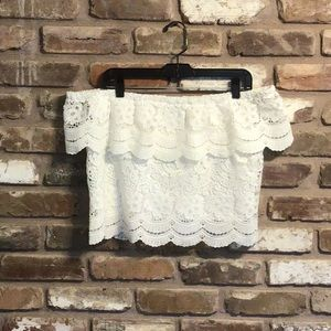 FOREVER 21 Off Shoulder White Lace Crop Top